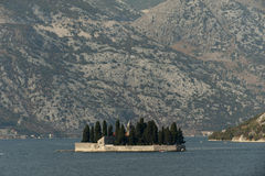 View on Sv.Djordje (left) and Gospa od Skrpjela ( right) alo known as Church Our Lady of the rocks in the morning. Perast, Monte Royalty Free Stock Photography