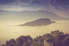 View of Sveti Nikola island at sunrise. Budva. Montenegro. Adriatic sea. Royalty Free Stock Image