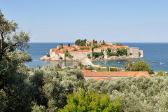 A view of the Sveti Stefan island on a summer day with trees of olive and pomegranate, Montenegro Royalty Free Stock Photos