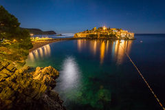 The view of Sveti Stefan sea islet at night Royalty Free Stock Photo