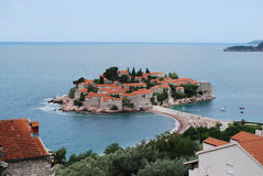 View of Sveti Stefan (St. Stefan) island in Montenegro. Royalty Free Stock Photos