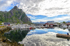 View of Svolvaer harbor, Norway. Stock Photos