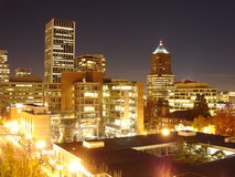 2005 view of SW Portland Downtown. Shows night view of SW Portland, OR in 2005 Stock Image