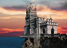 View of the Swallow's Nest in Crimea at sunset Royalty Free Stock Photos