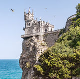 View of the Swallow's Nest and soaring gulls in Crimea Royalty Free Stock Photos