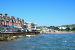 View of Swanage beach and promenade. Stock Photos