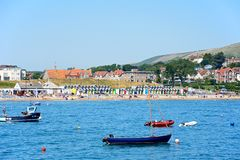 View of Swanage beach and town. Royalty Free Stock Photography