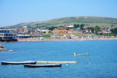 View of Swanage beach and town. Royalty Free Stock Images