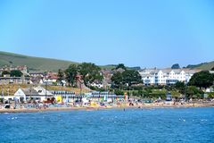 View of Swanage beach and town. Royalty Free Stock Photos