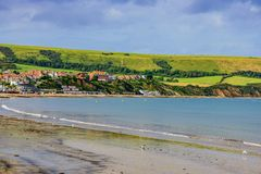 View of Swanage seaside town. In England stock photography