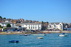 View of Swanage town and beach. Royalty Free Stock Images