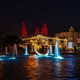 View of swans fountains  in the National Seaside Park at night royalty free stock photography