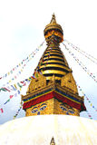 View of Swayambhunath temple, wisdom eyes in Nepal Royalty Free Stock Images