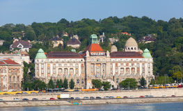 View of swimming baths Gelert from Danube Embankment. On June 8, 2012 in Budapest, Hungary.Gellert - the most beautiful medical swimming bath in Budapest. The stock photography