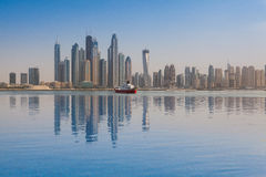 View from swimming pool on Dubai Marina, UAE Royalty Free Stock Photo
