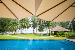View from the swimming pool of the hotel overlooking the sea Royalty Free Stock Photos