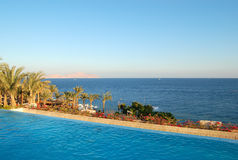 View from swimming pool with jacuzzi on Red Sea Stock Images