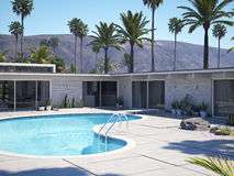 View of swimming pool and modern home exterior. 3d rendering Royalty Free Stock Photo