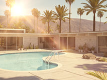 View of swimming pool and modern home exterior. 3d rendering Stock Images