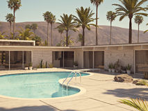 View of swimming pool and modern home exterior. 3d rendering. 3d rendering. vaction in villa with a pool Royalty Free Stock Image