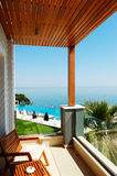 The view on swimming pool at the modern luxury hotel Royalty Free Stock Images