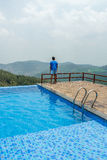 View of swimming pool on top of a hill station with mountain in the background, Salem, Yercaud, tamilnadu, India, April 29 2017 Stock Images