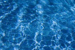 View at a swimmingpool. With blue mosaic tiles Royalty Free Stock Photo