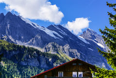 View of the Swiss alps: Beautiful Gimmelwald village, central Sw Stock Images