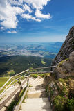 View of Swiss Alps from Mt. Pilatus and Lucerne lake (Vierwaldst Stock Photo