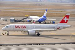 Swiss plane view Stock Photography
