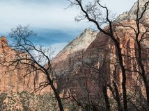 Monoliths in Zion National Park. View from the switchbacks, Zion National Park in Utah stock images