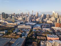 View Sydney City Skyline from a drone stock photo