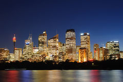 View of Sydney and the Harbor. Sydney City at night harbor Stock Images