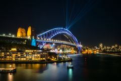 View of Sydney Harbour Bridge illuminated for Vivid. Sydney, Australia -May 25, 2018: Vivid Sydney Festival in Sydney Harbour, Australia. View of Sydney Harbour Stock Images