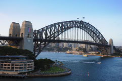 View of Sydney Harbour Bridge. Taken from P and O Aurora, on a world cruise Royalty Free Stock Photo