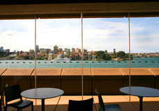 View of Sydney Harbour from Sydney Opera House cafe, Australia Stock Images