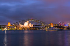 View of  Sydney Opera House And Harbour Bridge Australia at sunset Stock Photo