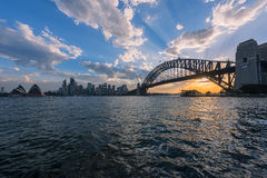 View of  Sydney Opera House And Harbour Bridge Sydney Australia at sunset. Royalty Free Stock Images