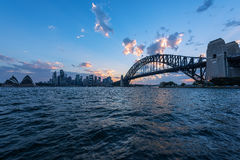 View of  Sydney Opera House And Harbour Bridge Sydney Australia at sunset. Royalty Free Stock Photography