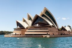 View of the Sydney Opera House. Sydney, New South Wales, Australia, September 13, 2013: View of the Sydney Opera House as seen from the water of Sydney Harbour stock photography