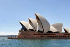 View of the Sydney Opera House. Sydney, New South Wales, Australia, September 13, 2013: View of the Sydney Opera House as seen from the water of Sydney Harbour royalty free stock photography