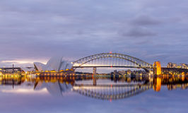 View of sydney opera houses from Botanic garden. Royalty Free Stock Images