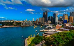 View of Sydney, The Rocks District and Circular Quay. View of Sydney central business district , The Rocks District and Circular Quay. The Rocks is an urban royalty free stock photo