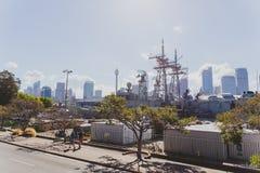 View of Sydney`s Cowper Wharf area near Potts Point. SYDNEY, AUSTRALIA - December 26th, 2014: view of Sydney`s Cowper Wharf area near Potts Point stock image