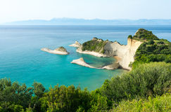 View on symbol of Corfu island - Cape Drastis, Greece royalty free stock photography