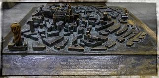 View of symbolic old bronze map placed near to Milan cathedral. MILAN, ITALY - DECEMBER 12, 2016: View of symbolic old bronze map placed near to Milan cathedral Stock Photography