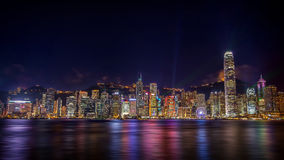 View of Symphony of lights in Hong kong Stock Images