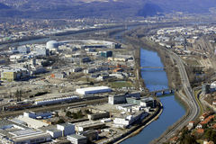 View of synchrotron in Grenoble from the Bastille. France Royalty Free Stock Photography