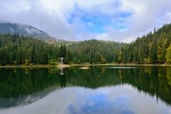 View of Synevir high-altitude lake by autumn day. The leaf fall Royalty Free Stock Photography