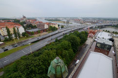 View of the Szczecin in Poland. Rainy day Stock Images